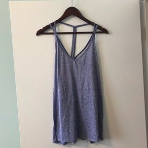 Strappy purple striped dry fit workout tank top